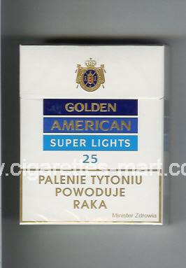 Golden American (german version) (design 2) (Super Lights) ( hard box cigarettes )