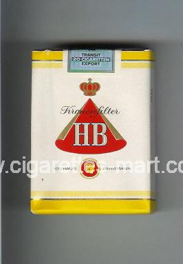 HB (german version) (design 1) (Kronen Filter) ( soft box cigarettes )