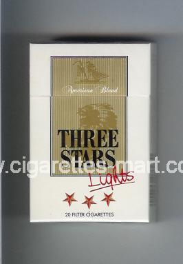 Three Stars (german version) (design 1A) (American Blend / Lights) ( hard box cigarettes )