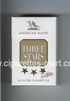 Three Stars (german version) (design 2) (American Blend / Lights / De Luxe) ( hard box cigarettes )