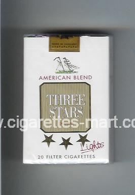 Three Stars (german version) (design 2) (American Blend / Lights / De Luxe) ( soft box cigarettes )