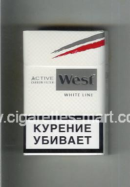 West (design 10) (Active Carbon Filter / White Line) ( hard box cigarettes )