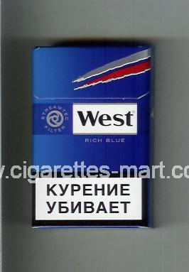West (design 10A) (Rich Blue) ( hard box cigarettes )