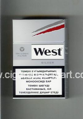 West (design 10B) (Tri-Logic Filter / Silver) ( hard box cigarettes )