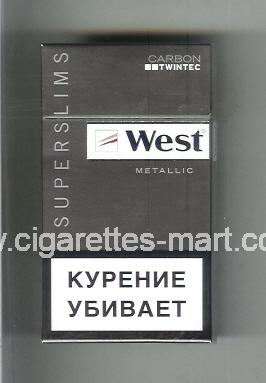 West (design 12) (Superslims / Metallic / Carbon Twintec) ( hard box cigarettes )