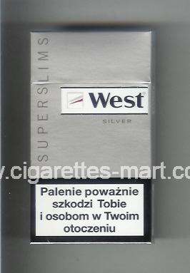 West (design 12) (Superslims / Silver) ( hard box cigarettes )