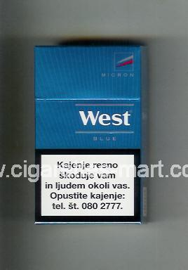 West (design 14) (Micron / Blue) ( hard box cigarettes )