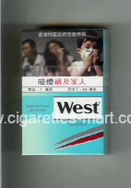West (design 19) (American Blend / Green) ( hard box cigarettes )