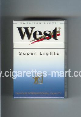 West (design 3) (Super Lights / American Blend) ( hard box cigarettes )