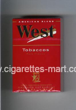West (design 3) (Tobaccos / Full Flavor / American Blend) ( hard box cigarettes )