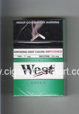 West (design 3A) (Green / American Blend) ( hard box cigarettes )