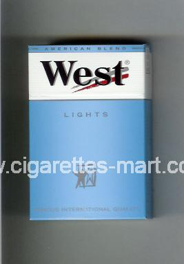 West (design 3A) (Lights / American Blend) ( hard box cigarettes )