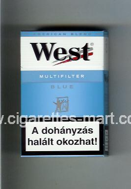 West (design 3A) (Multifilter / Blue / American Blend) ( hard box cigarettes )