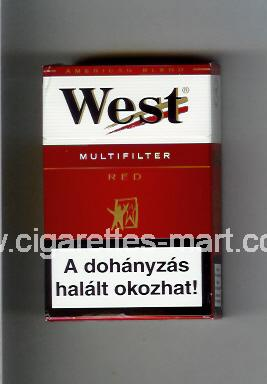 West (design 3A) (Multifilter / Red / American Blend) ( hard box cigarettes )
