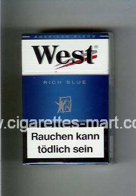 West (design 3A) (Rich Blue / American Blend) ( hard box cigarettes )
