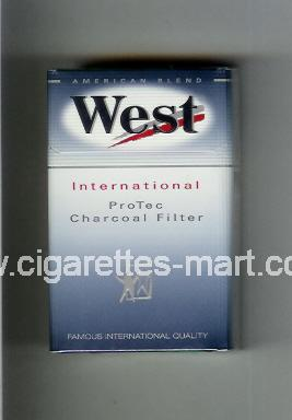 West (design 6) (International / ProTec Charcoal Filter / American Blend) ( hard box cigarettes )