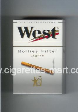 West (design 8) (Rollies Filter / Lights / Filter Cigarillos) ( hard box cigarettes )