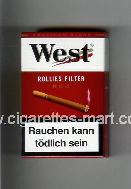 West (design 8) (Rollies Filter / Red / American Blend) ( hard box cigarettes )