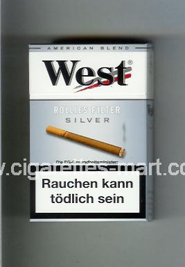 West (design 8) (Rollies Filter / Silver / American Blend) ( hard box cigarettes )