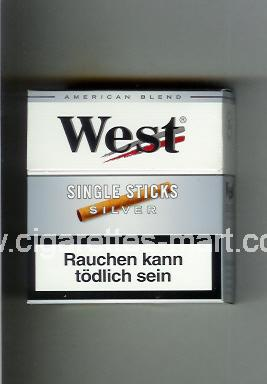 West (design 9) (Single Sticks / Silver / American Blend) ( hard box cigarettes )